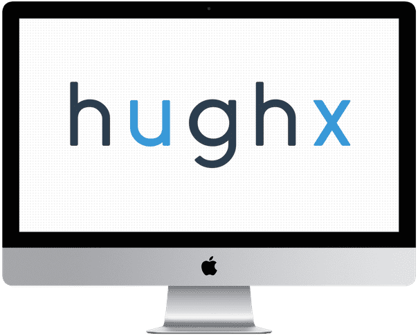 "iMac Pro displaying ""hughx"" in dark blue (with the ""u"" and ""x"" in light blue) against a white background with gray dots"